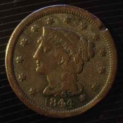 1844 BRAIDED HAIR LARGE CENT FINE w/OBVERSE RIM NICK
