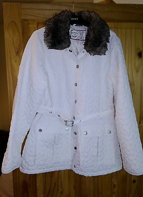 Quilted white coat, detachable faux fur collar by M&S, for age 13-14