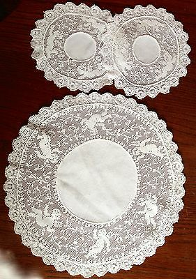 Antique Lace Doilies Figural Cupids Hand Made X 3