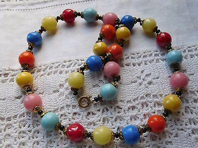 Gorgeous Vintage 1950s Colourful HARLEQUIN Glass Bead Necklace