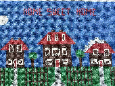 Vintage Hand Embroidered counted cross stitch panel Home Sweet Home