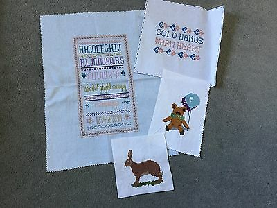 Vintage Hand Embroidered counted cross stitch panels x 4 sampler rabbit