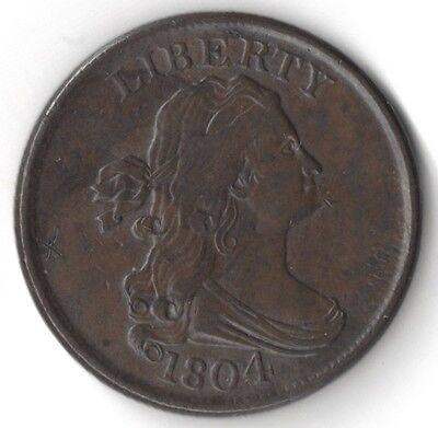 Nice 1804 Spiked Chin Half Cent - Free Shipping