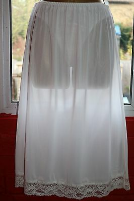NWT M&S  White Sheer Cling Resistant Shimmery Lace Trim Half Waist Slip Sz 12