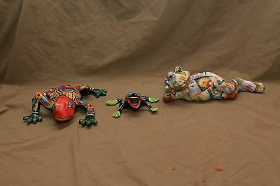 3 Vintage Pottery Frog Frogs Collection 1 Signed Linda Edgington Canada