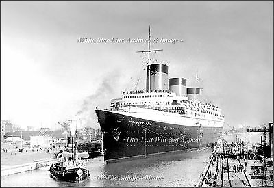 Photo: SS Normandie Rare View At Southampton's Ocean Dock, 1937