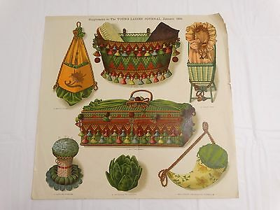 ANTIQUE 1891 FANCY PATTERN DESIGNS for Sewing Items Baskets Whimseys