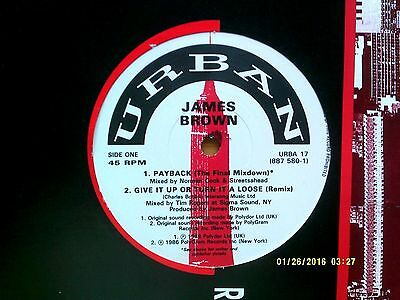 """James Brown Payback 4 Track 12"""" Single 1988 N/mint"""