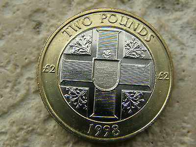 Rare -1998  - Two Pound Coin - Three Lions * Guernsey Hologram Flag Motif * Unc