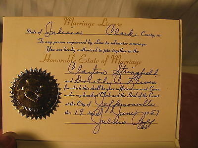 1957 Marriage license, Clayton Stringfield, Dorothy Lewis