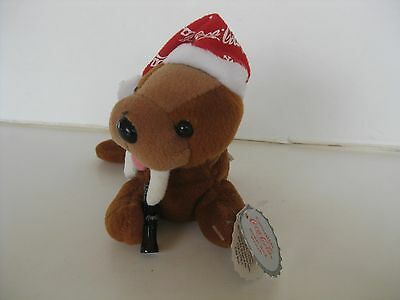 1998 Coca Cola Plush Walrus In Snowflake Night Cap