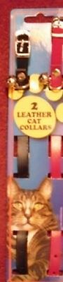 2 NEW LEATHER CAT COLLARS with bell