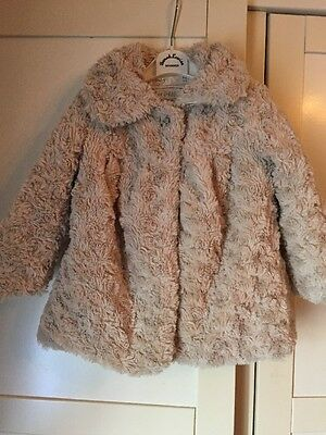 Very Cute Faux Fur Coat Cream Soft Snugly 18 Months 2 Years