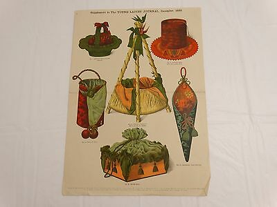 ANTIQUE 1889 FANCY PATTERN DESIGNS for CHRISTMAS PRESENTS SEWING ITEMS