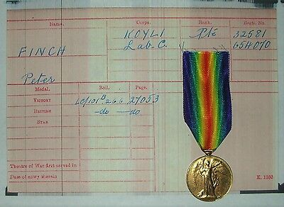 Original Wwi Uk Victory Medal To Peter Finch, King's Own Yorkshire Lte. Infantry