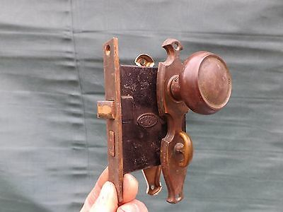 Vintage 1940's Door Knob Set With Mortise Lock & Backing Plate  (H3)