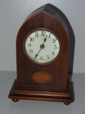 Inlaid Mahogany Arch Top Antique 8 Day Wind Up Clock a/f
