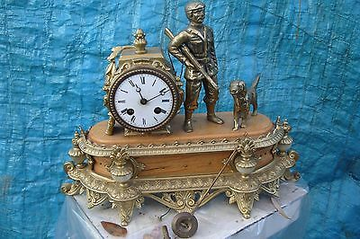 MANTEL CLOCK WORKING TIME  PIECE ( Pre LE  MASSON  MOVEMENT ) STRIKING ON A BELL