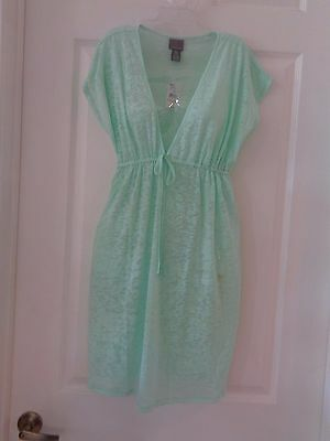 New With Tags Oh Baby! Motherhood Swim Coverup Size L Mint Green Burn Out Empire