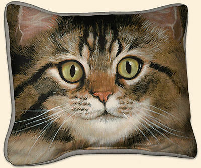 New Grey or Brown Tabby or Tiger Cat throw Pillow