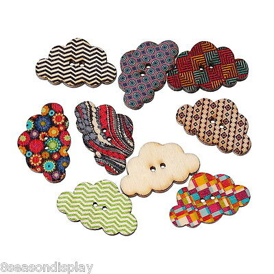 50PCs Wooden Buttons Mixed Color Cute Cloud 2-hole Sewing Scrapbooking DIY