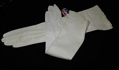 Vintage 70's Real Kid white Long Women's Gloves-Made in France 6 Washable Tags