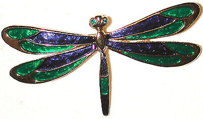 Vintage Dragonfly Pin Enameled Green & Blue With Green Rhinestone Eyes Sphinx