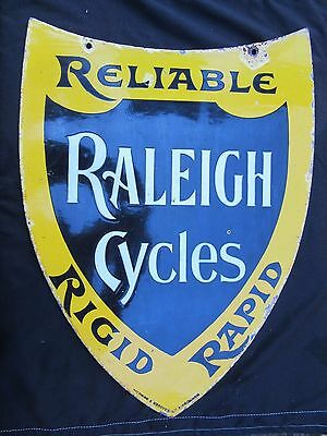 Raleigh Cycles Enamel Sign Shield Shape c1900 Wildman + McGuyer B`ham VGC