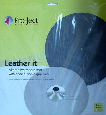 "* Pro-Ject - Plattenteller-Auflage - ""leather-It"" - Ledermatte - Black  *"