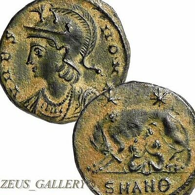 CONSTANTINE The GREAT She WOLF Suckling Twins Romulus URBS ROMA Ancient Coin XF