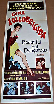 Beautiful But Dangerous (1957) Sexy Gina Lollobrigida Orig 14X36 Insert Poster