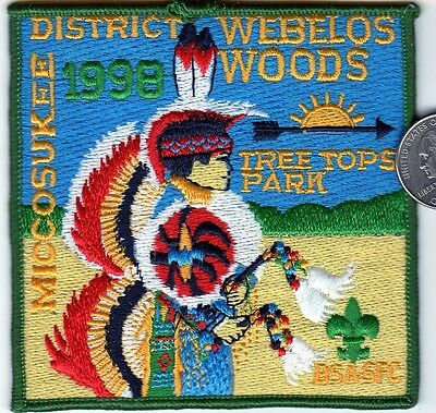 Boy Scouts of America Patch TREE TOP PARK Webelos Woods MICCOSUKEE 1998 Indian