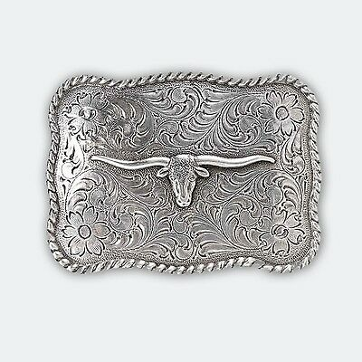 Silver Longhorn Belt Buckle Country Rodeo Outback Bull Horns Riding