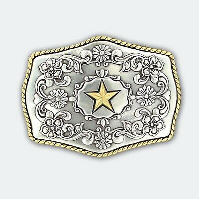 Nocona Silver & Gold Star Belt Buckle Country Rodeo Outback Bull Horse Riding