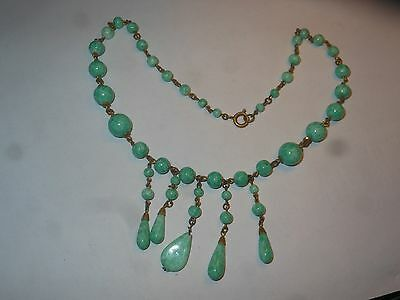 Antique Victorian Green & White Art Glass or Stone Dangle Necklace Choker