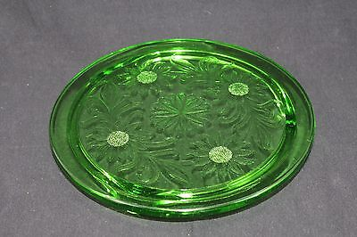 VINTAGE Jeanette Green Depression Glass footed Cake Plate Platter Sunflowers