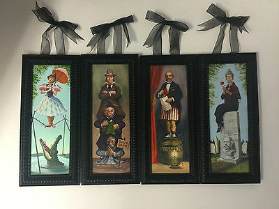 Disney Parks Haunted Mansion Stretching Portraits 4 Framed Canvas Print Set