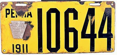 1911 Pennsylvania Porcelain License Plate Nice Original Good #10644 W/Badge