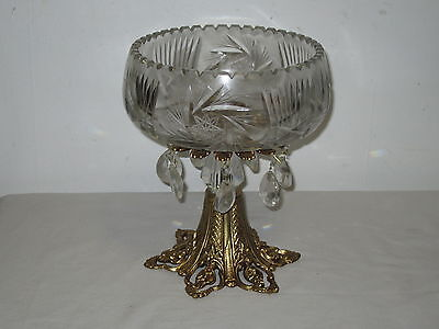 * Vintage Carved Cut Glass Compote *