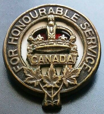 """1917 WWI Canadian """"For Honourable Service"""" Army Badge - Numbered - B8D105"""