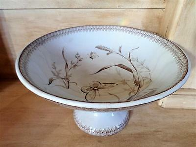 Antique Brown Transferware Footed Pedestal Compote  TR Boote England Summer Time