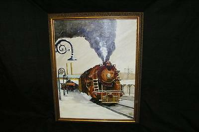 1984 Oil Painting 9249 Engine At Station Steam Train Art Framed 14 X 18.5