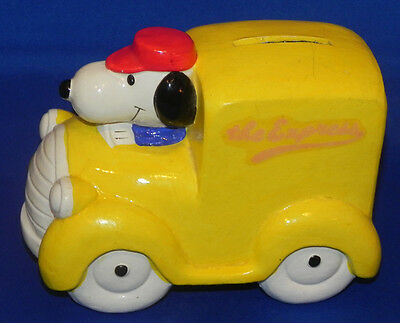 Vintage Snoopy Yellow Truck Coin Bank Vehicles Series The Express Peanuts
