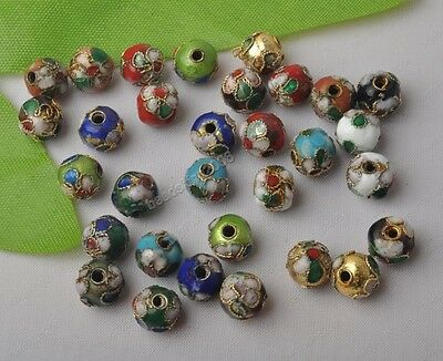 20Pcs 8mm Multi-Colors round Filigreed enamel cloisonne loose Spacer Beads