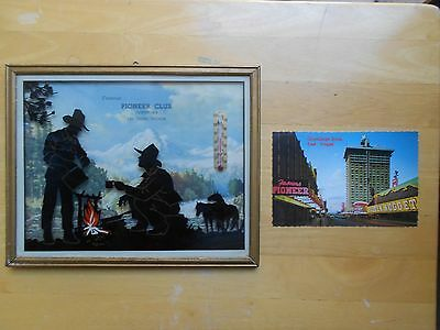 Vegas Pioneer Club Thermometer Nevada Photo Postcard  History Old 1940's 1950's