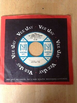 """Rare Beatles Orig. 1964 Vee Jay """" Do You Want To Know A Secret """" Promotional 45"""