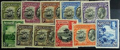 Stamps: Grenada; SG# 135/44 + 136a; Mostly MLH, VF  (D229)