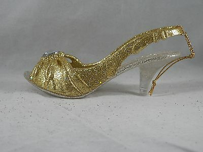 Gold and Silver Glittered High Heel Shoe Christmas Tree Ornament new holiday