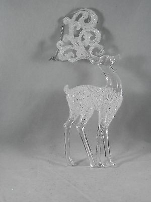 Clear Frosted Glittered Reindeer Christmas Tree Ornament new holiday