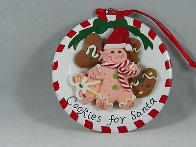 Gingerbread Cookies for Santa on Plate Christmas Tree Ornament new holiday